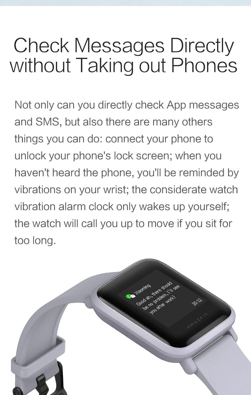 Amazfit Bip Smart Watch Bluetooth GPS Sport Heart Rate Monitor IP68 Waterproof Call Reminder Amazfit APP Notification Vibration
