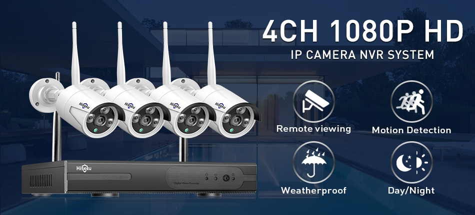 Hiseeu 8CH Wireless CCTV System 1080P 1TB 4pcs 2MP NVR wifi IR-CUT Outdoor CCTV Camera IP Security System Video Surveillance Kit