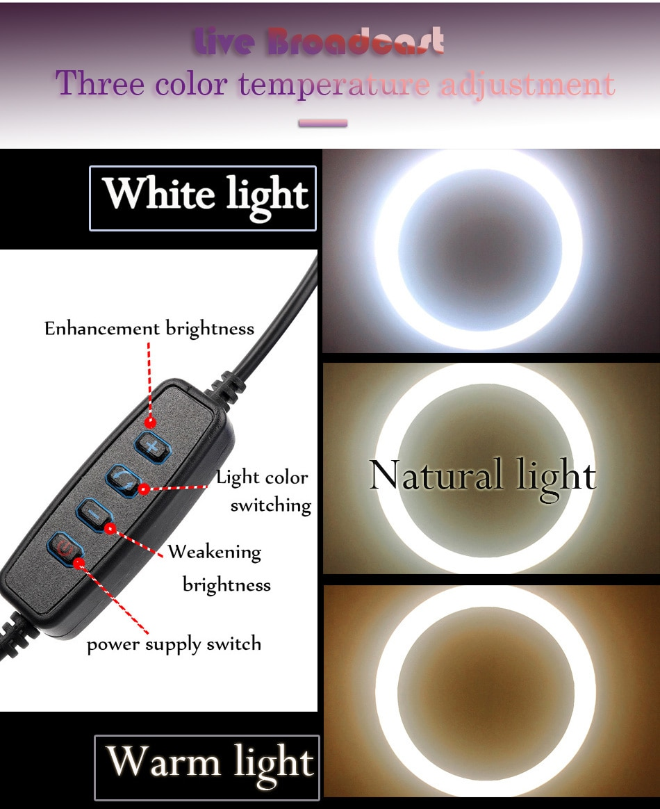 10inch 26cm USB Interface Dimmable LED Selfie Ring Light Camera Phone Photography Video Makeup Lamp With Tripod Phone Clip