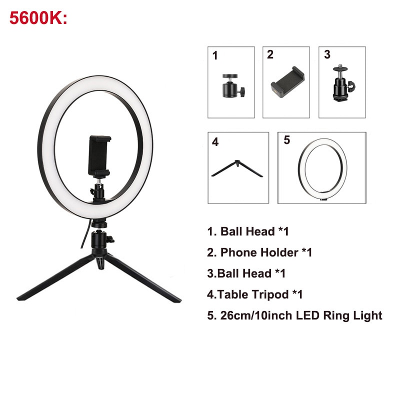 26cm/10inch LED Selfie Ring Light Dimmable LED Ring Lamp Photo Video Camera Phone Light ringlight For Live YouTube Fill Light