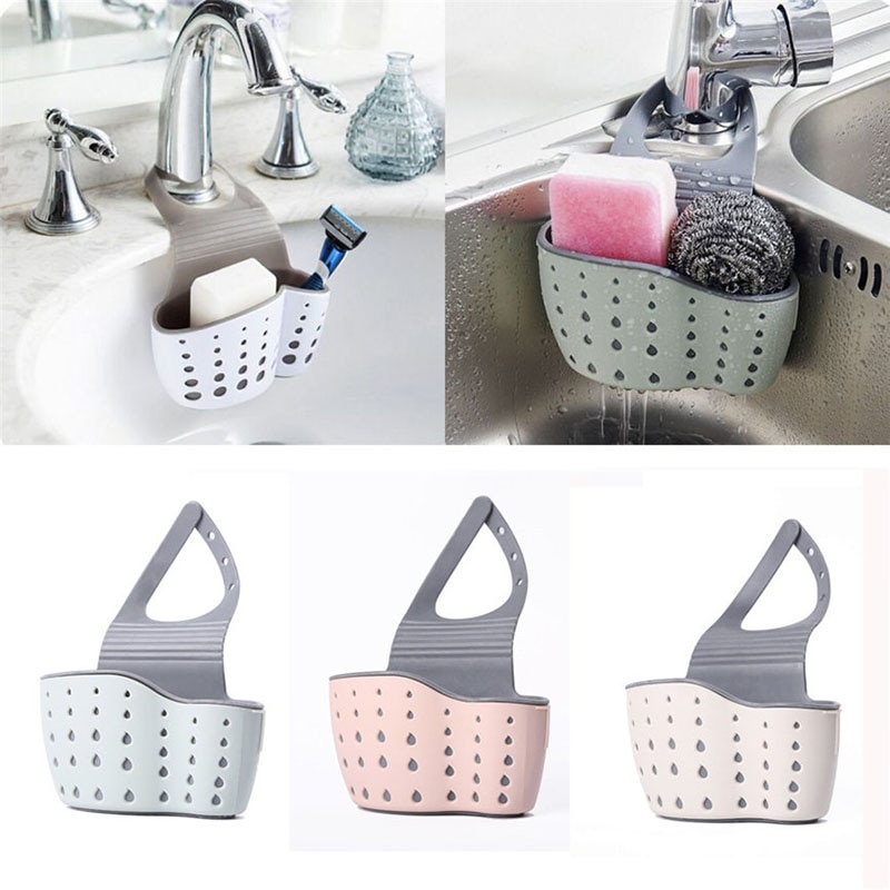 Beige Sink Hanging Bag Kitchen Rack Faucet Sink Storage Basket Hanging Basket
