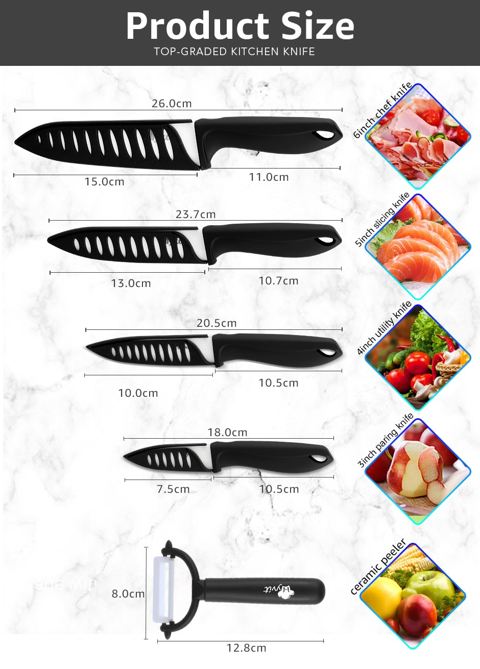 Ceramic Knife 3 4 5 6 inch Kitchen Chef Utility Slicer Paring Ceramic Knives Peeler Set White Zirconia Blade