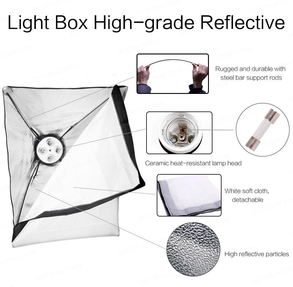 Photo Studio Rectangle Photography Soft Box 8 Led 20W Photographic Lighting Kit 2 Light Stand 2 Soft box Carry Bag for Camera