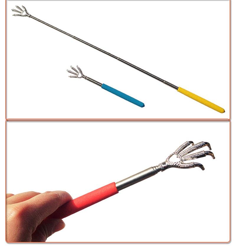 Bear Claw Back Scratcher Practical Handy Stainless Adjustable Pen Clip Back Scratcher Telescopic Pocket Scratching Massage Kit