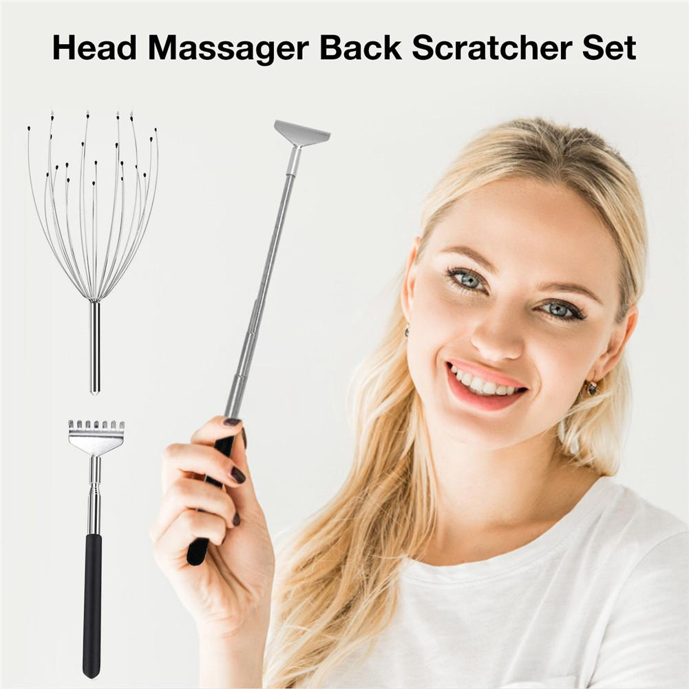 Hot Selling Premium Head Massager Back Scratcher Set Stainless Steel Retractable Handle Head Claw With 20 Fingers
