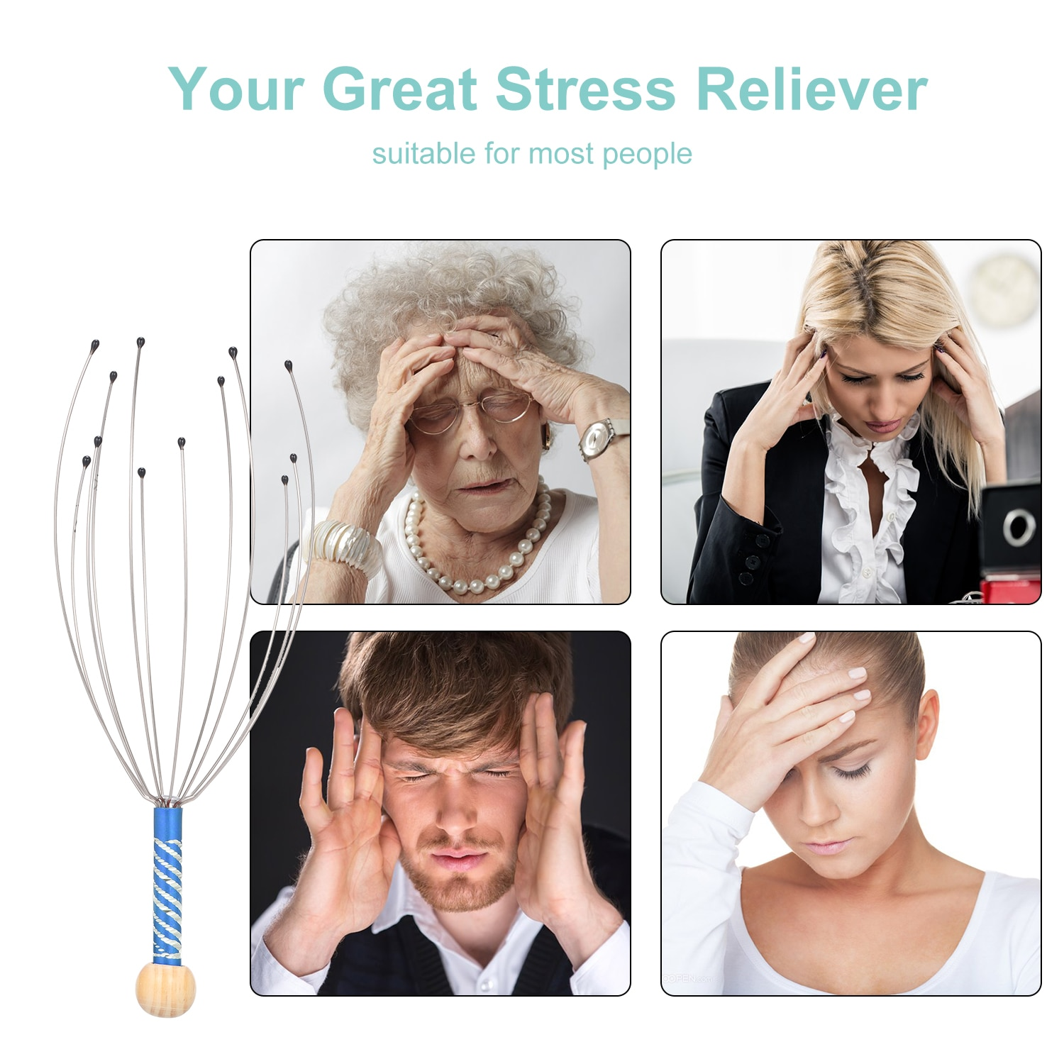 3pcs Scalp Scratchers Head Massagers Scalp Scratchers Handheld Scratcher for Head Body Relaxing Massage Tools Random Color