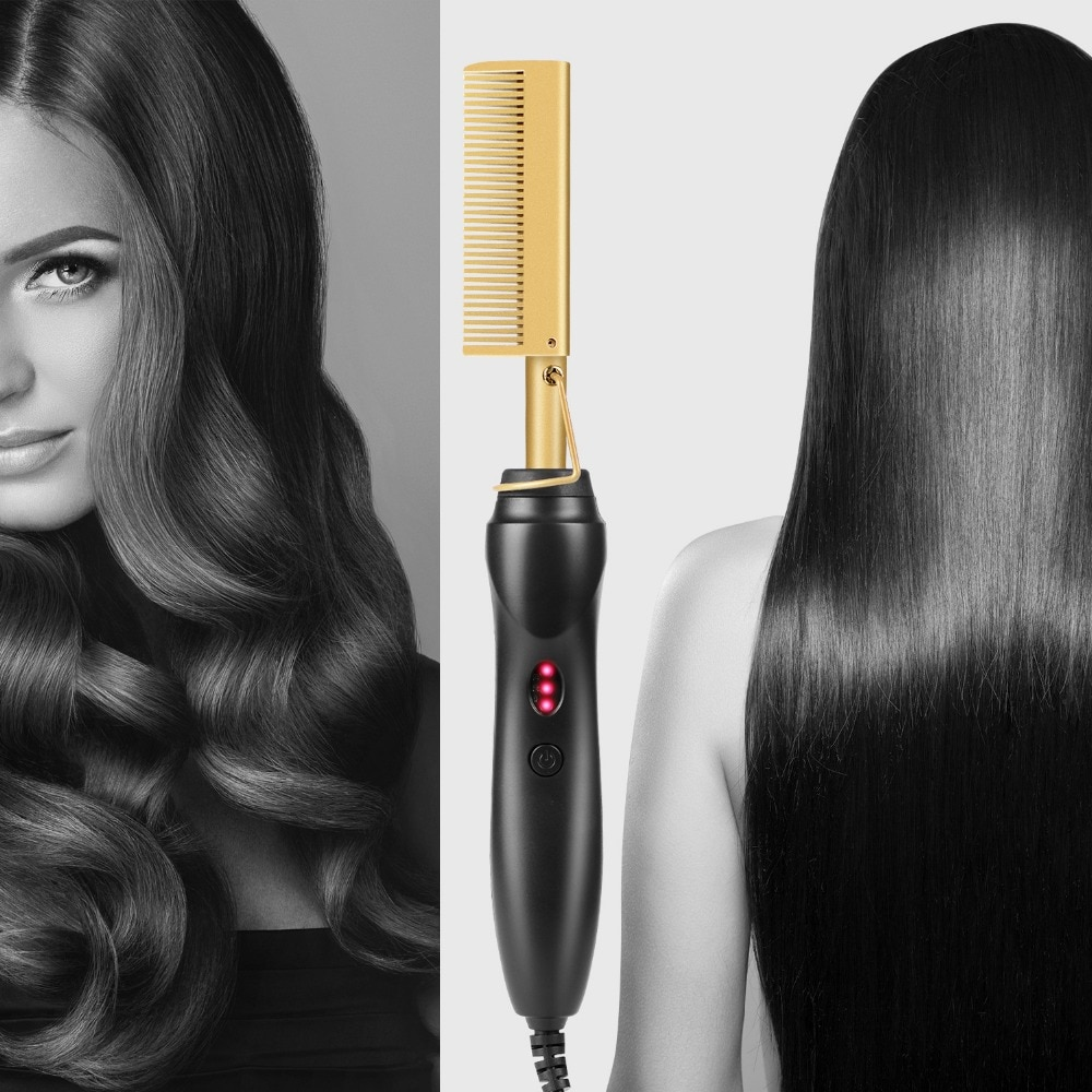 Straighten Hair Hot Comb Hair Straightener Wet and Dry Hair Use Electric Straightener Curling Hair Brush Titanium Alloy Hot Comb