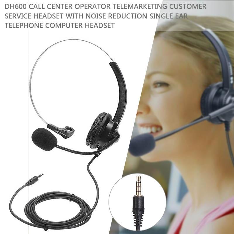 Professional 3.5mm Wired Headset Noise Cancelling Headphone With Microphone For Call Center E-commerce company Salesman