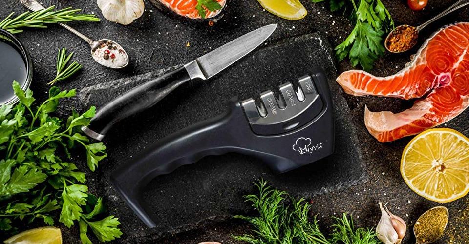 Knife Sharpener 3 Stages ( Tungsten Diamond & Ceramic ) Steel Whetstone Kitchen Knives Sharpening Grindstone Grinder Stone Tools