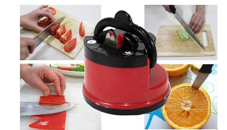 1 Pcs Kitchen Sharpening Tool Steel Knife Sharpener with suction pad Scissors Grinder Secure Suction Chef Pad