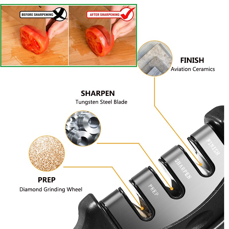 3 Stages Professional Kitchen Sharpening Tungsten Diamond Ceramic Sharpener Tool