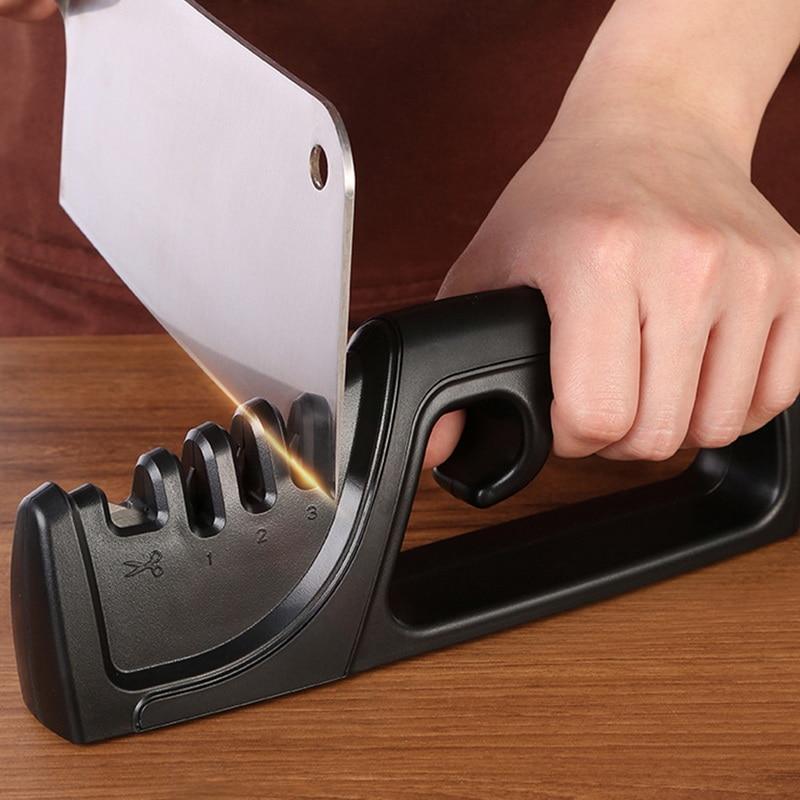 Fine Kitchen Knife Sharpener Professional 4 Stages Sharpening Grinder Diamond Whetstone Tungsten Steel Ceramic