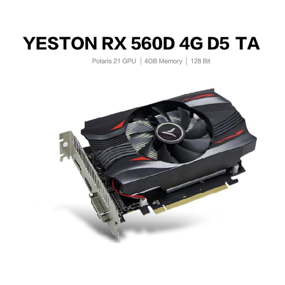Yeston Radeon mini RX560D GPU 4GB GDDR5 TA 128bit Gaming Desktop computer Video Graphics Cards support VGA/DVI-D/HDMI PCI-E 3.0