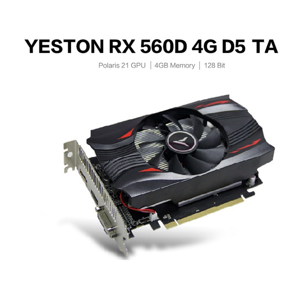 Yeston Graphics Card Extreme Speed Edition GPU Fan Graphics Card 1176/6000MHz 4G 128bit GDDR5 Gaming Video Player Module