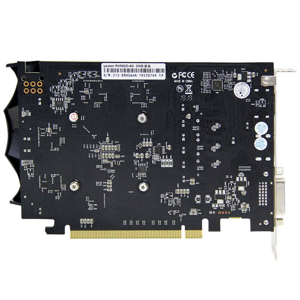 Yeston RX560D-4G D5 Extreme Speed Edition GPU Fan Graphics Card 1176/6000MHz 4G 128bit GDDR5 Gaming Video Player Module