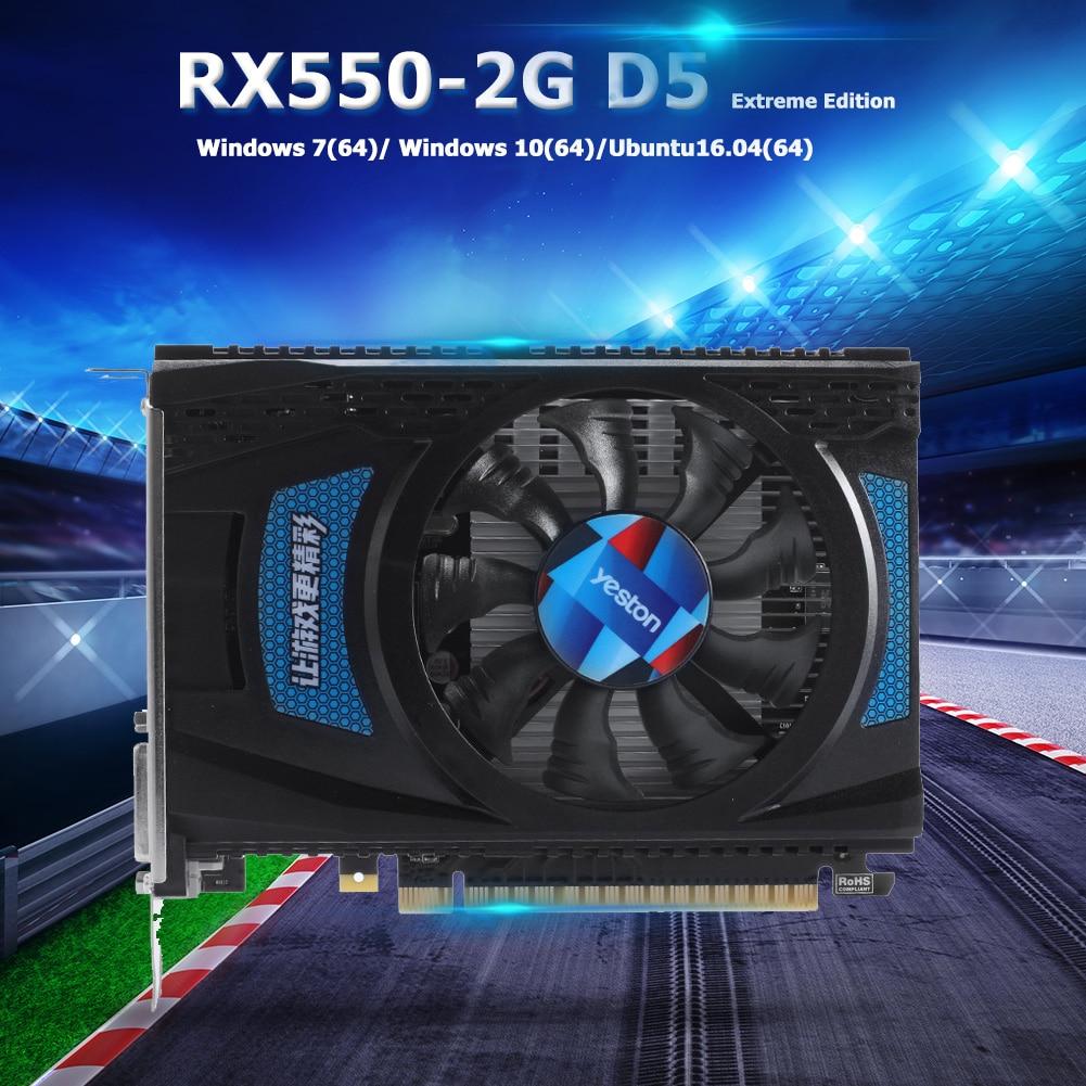 Yeston RX550D-2G D5 GPU Fan Graphics Card PCI Express 3.0 1183/6000MHz 2G 128bit GDDR5 External Gaming Video Module for Desktop