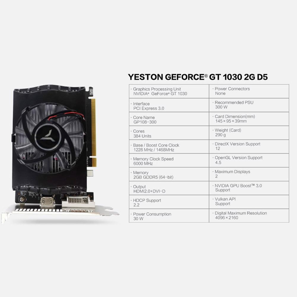 Yeston GT 1030 Graphics Card GT1030 2GB GDDR5 64Bit HDMI DVI-D Single Fan Video Card GPU for Desktop PC for Windows7/8/10