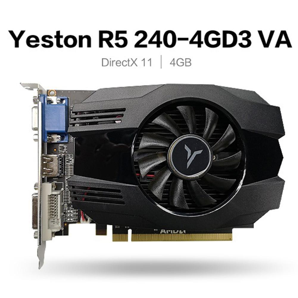 Yeston R5 240 Graphics Card 4GB DDR3 64Bit PCI-Express 3.0 HDMI DVI-D VGA 650/1333MHz Video Card GPU for Desktop PC Computer